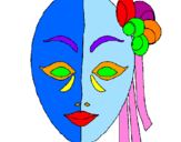 Coloring page Italian mask painted bynicolette