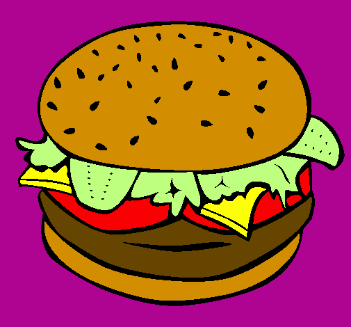 Coloring page Hamburger with everything painted byQueen