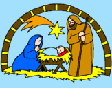 Coloring page Christmas nativity painted byevie