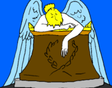 Coloring page Angel statue in cemetery painted byLana