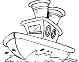 Coloring page Boat at sea painted bybarco
