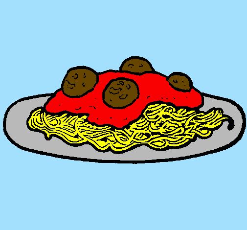 Colored Page Spaghetti With Meat Painted By Pasta Meatballs