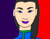 Coloring page Young Chinese woman painted bynicolette