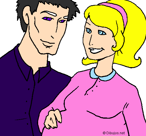 Coloring page Father and mother painted bymom dad