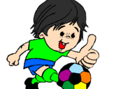 Coloring page Boy playing football painted byjesus