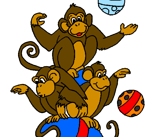 Coloring page Juggling monkeys painted byChas