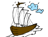 Coloring page Sailing boat painted byrandy