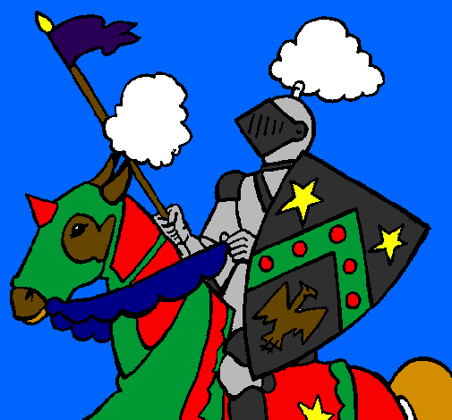 Coloring page Knight on horseback painted byDylan Strunk