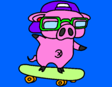Coloring page Graffiti the pig on a skateboard painted bycookie monster