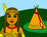 Coloring page Indian and teepee painted bycrystalena