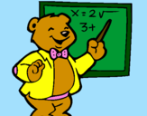 Coloring page Bear teacher painted bydani