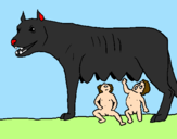 Coloring page Wolf with Romulus and Remus painted byKevin