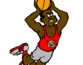 Coloring page Slam dunk painted byJulius Erving
