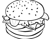 Coloring page Hamburger with everything painted byhamburguer uncolored