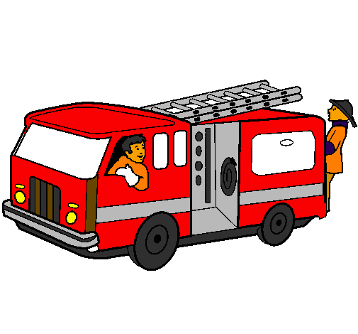 Coloring page Firefighters in the fire engine painted byfritu