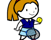 Coloring page Female tennis player painted bypenciluncolored