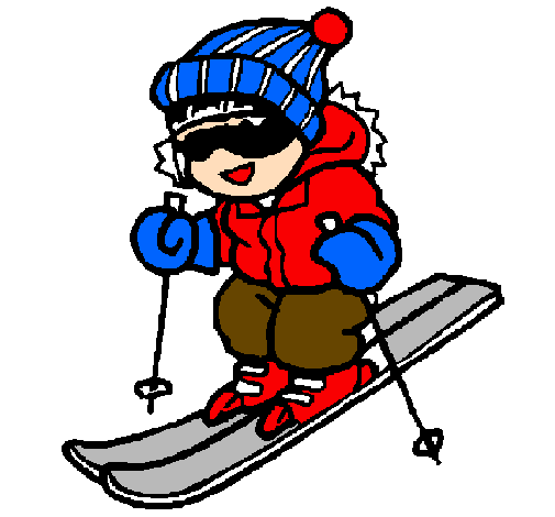 Coloring page Little boy skiing painted byFanny