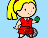 Coloring page Female tennis player painted byJane Princess