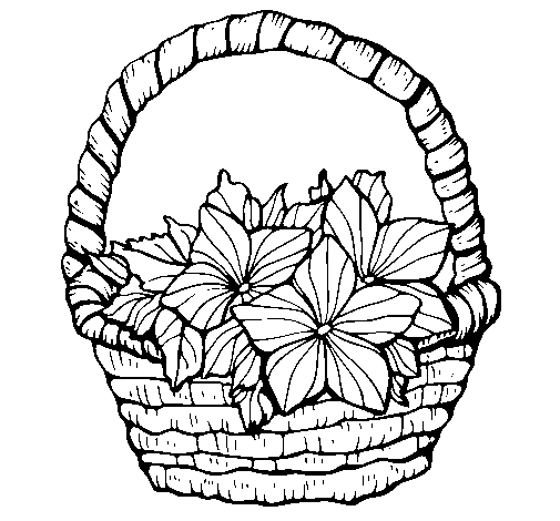Flower Basket Coloring Page Illustration 51089234 - Megapixl | 470x505