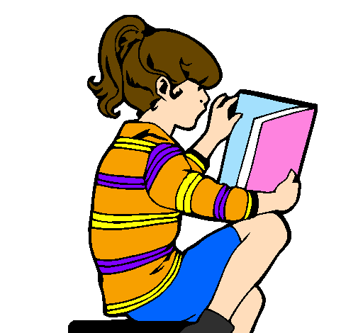 Coloring page Little girl reading painted byKaden:Girl reading