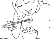 Coloring page Eating rice painted bysara