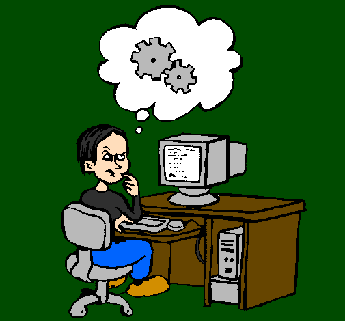 Coloring page Computer expert thinking painted bylogan