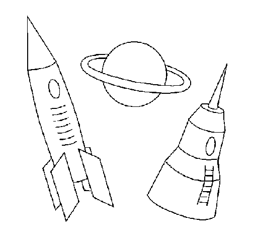 Coloring page Rocket painted byemel