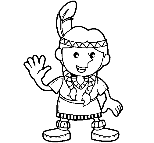 Coloring page American Indian painted byemel