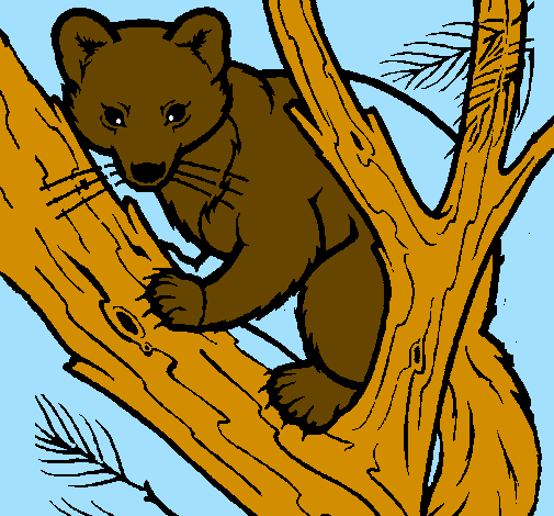 Coloring page Pine marten in tree painted by nate