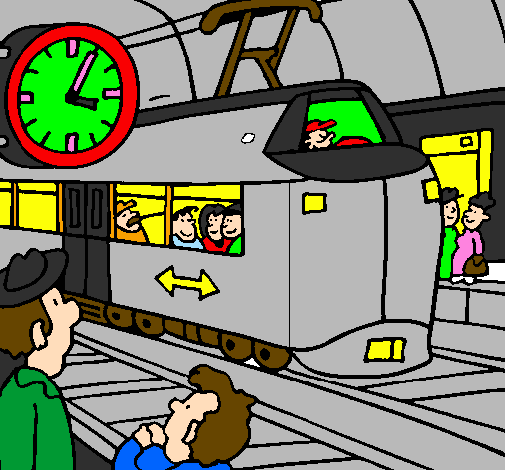 Coloring page Railway station painted byenzo