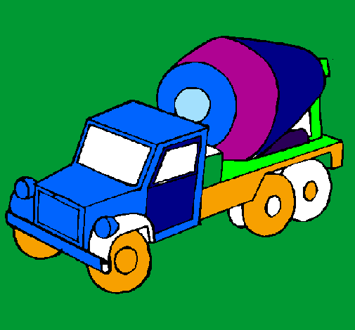 Coloring page Concrete mixer painted byestuardo