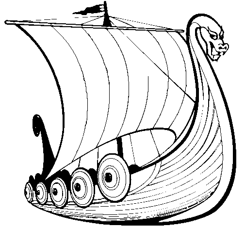 Colored page Viking boat painted by viking boat