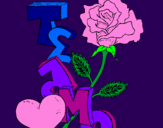 Coloring page I love you II painted byLuna Azul