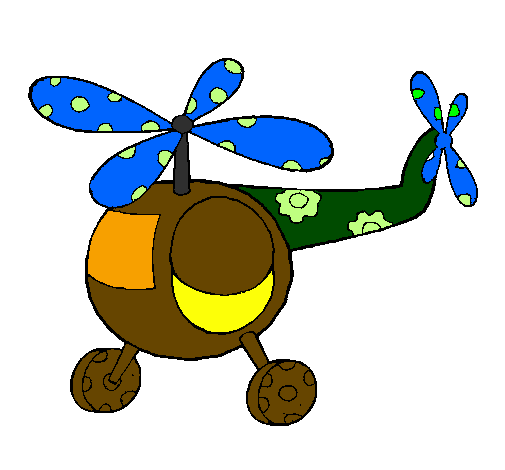 Coloring page Decorated helicopter painted bynicolas ospina