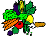 Coloring page vegetables painted byRoxie