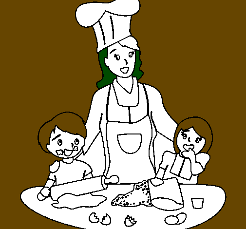 Coloring page Cooking with mom painted byanonymous