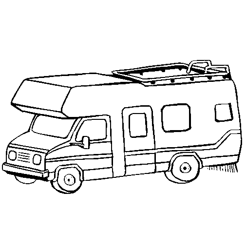 Coloring page Caravan painted byCamping