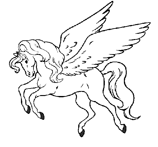 Colored page Pegasus flying painted by Butterfly