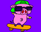 Coloring page Graffiti the pig on a skateboard painted byemanuel
