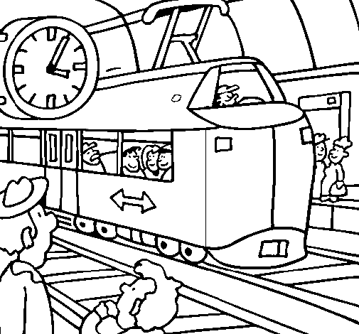 Coloring page Railway station painted byANAS