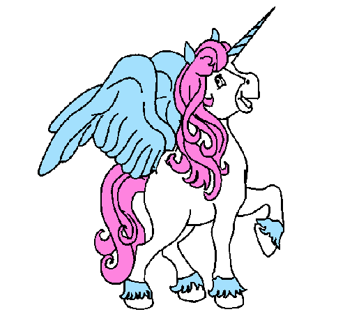 Colored page Unicorn with wings painted by Chantelle