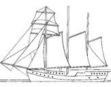 Coloring page Sailing boat with three masts painted bygreene diamond