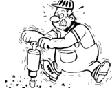 Coloring page Worker painted byrock driller