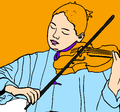 Coloring page Violinist painted bykakay