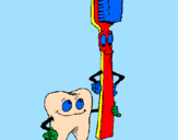 Coloring page Tooth and toothbrush painted byauro--ra