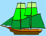 Coloring page Sailing boat painted bymm