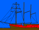 Coloring page Sailing boat with three masts painted bydevin