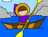 Coloring page Eskimo canoe painted bydama