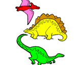 Coloring page Three types of dinosaurs painted byfdlhmkdgld,m