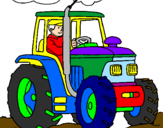 Coloring page Tractor working painted byMatthew